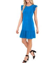 cece flutter sleeve cotton blend knit dress, size large in santorini sky at nordstrom