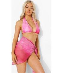 petite mesh tie dye midi sarong, pink