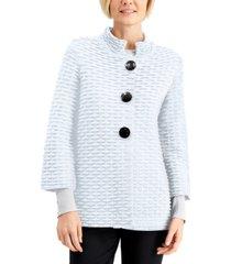 jm collection petite textured mandarin-collar cardigan, created for macy's