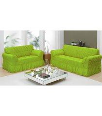 capa de sofá 2 e 3 lugares com 20 elástico - verde - bene casa