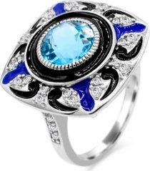 women's blue topaz (2 1/4 ct.t.w.) and enamel ring in sterling silver