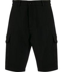 ami logo patch cargo bermuda shorts - black