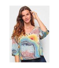blusa cantão t-shirt est mantiqueira manga 3/4 feminina