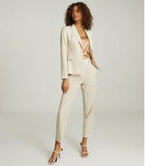 reiss tanya - wool blend slim fit blazer in stone, womens, size 12