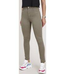 calça de sarja feminina sawary skinny cintura alta verde militar