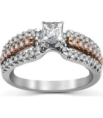 0.1ct princess & round shape sim. diamond two tone rose & white engagement ring