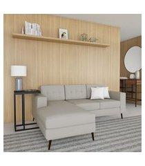 sofá 3 lugares life com chaise esquerdo pé palito linho cotton cru