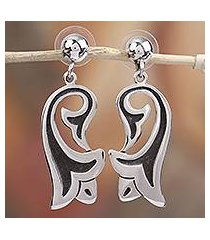 sterling silver dangle earrings, 'trumpets' (mexico)