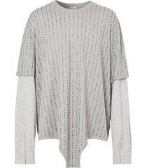burberry crystal-embellished layered t-shirt - grey