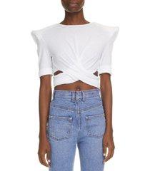 women's balmain structured shoulder crop top, size 14 us - white