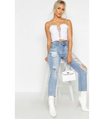 petite broderie anglaise sweet heart crop top, ivory