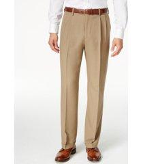 haggar men's texture weave classic fit pleated hidden expandable waistband dress pants