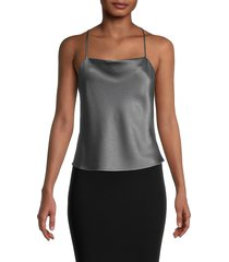 alice + olivia by stacey bendet women's harmon drapey slip tank - charcoal - size l