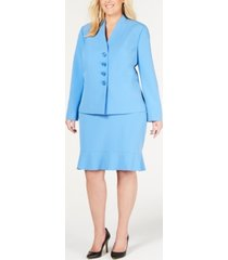 le suit ruffle-hem shoulder-pads skirt suit