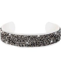bracciale bangle medium in metallo rodiato e cristalli per donna