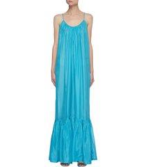 'brigitte' open back ruched mermaid hem silk maxi dress