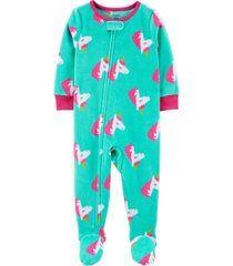 carter's baby girl 1-piece unicorn fleece footie pjs