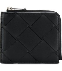 bottega veneta maxi weave zip-around wallet - black