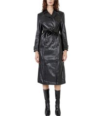 bardot faux leather trench coat, size large in black at nordstrom