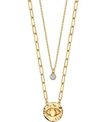 unwritten gold flash plated evil eye disk layered pendant necklace with cubic zirconia pendant