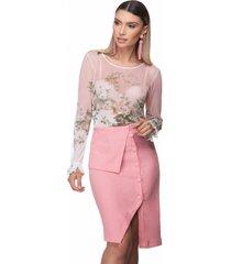 blusa zaiko tul㪠estampado floral manga longa 2390 rosa - rosa - feminino - poliã©ster - dafiti