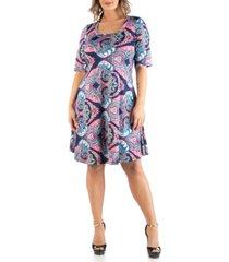 24seven comfort apparel women's plus size paisley dress