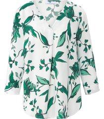 blouseshirt met v-hals en 3/4-mouwen van peter hahn wit
