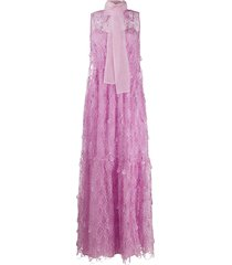 self-portrait embroidered teardrop dress - pink