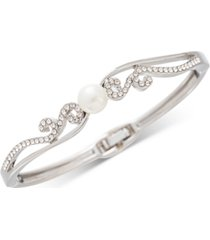 charter club silver-tone imitation pearl & crystal pave hinge bracelet, created for macy's