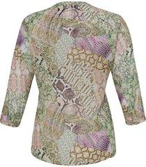 blouse met 3/4-mouwen en doorknoopsluiting van anna aura multicolour