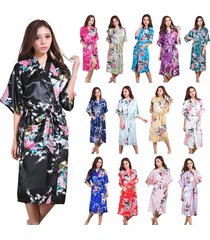 new hot sale bridesmaid peacock kimono robe wedding women satin silk sleepwear