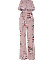 abito floreale top a fascia pantaloni a palazzo