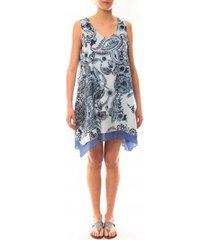 korte jurk palme robe tasmanie 49496 bleu