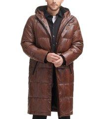 dkny men's faux leather extra long parka coat