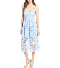 women's astr the label lace midi dress, size x-small - purple