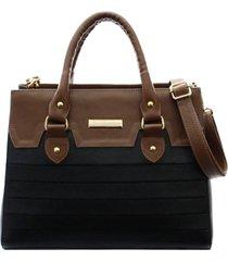 bolsa maria verônica recortes e matelassê couro cor preto com marrom 5132