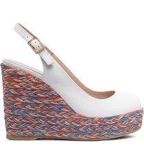 paul warmer woven wedge heel sandals - white