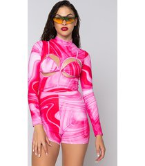 akira pink therapy long sleeve romper