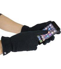 luva thermo fleece touch screen com borda em couro legítimo