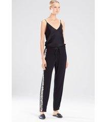 adorn pants pajamas, women's, black, 100% silk, size m, josie natori
