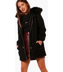 petite parka jas met faux fur capuchon, zwart