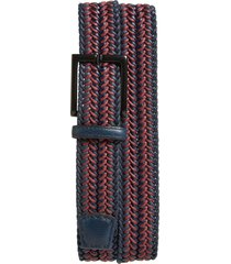 men's big & tall torino woven cotton & leather belt, size 46 - navy/ burgundy