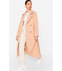 womens love you longline belted faux wool coat - camel