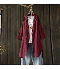zanzea plus s-5xl camisa de solapa de manga larga para mujer tops camisa casual blusa lisa suelta -rojo