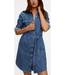 mango belt denim dress