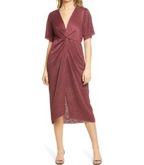 women's all in favor dolman plisse midi dress, size large - burgundy