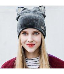cappello caldo da donna in velluto caldo per esterno casual antivento orecchio protezione soft cappello da neve carino gatto orecchio