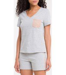 camiseta de algodão - mescla - s