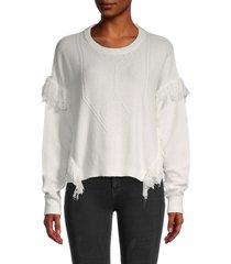 heroes & dreamers women's fringe-trim knitted sweater - black - size m