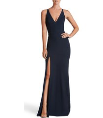 women's dress the population iris crepe trumpet gown, size x-large - blue